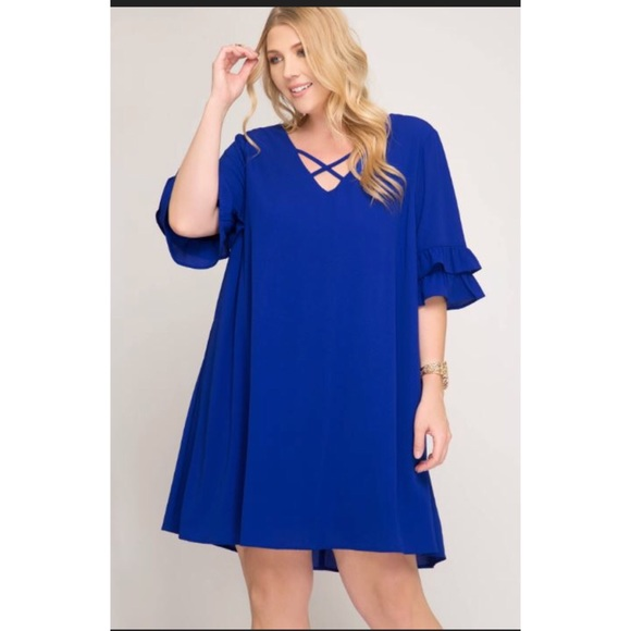 Plus size royal blue dress with 3/4 sleeves
